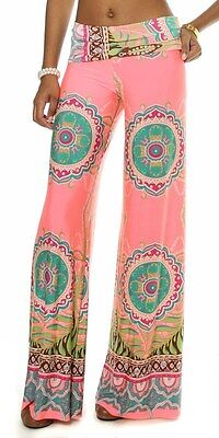 Bandana Retro Wide Leg High Waist Palazzo Flare Leg Casual Lounge Pants Paisley