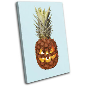 Halloween-Pineapple-Fruit-Food-Kitchen-SINGLE-CANVAS-WALL-ART-Picture-Print
