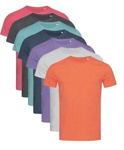 Mans-Mens-Plain-Cotton-Blend-Melange-Crew-Neck-Tee-T-Shirt-TShirt-S-XXL