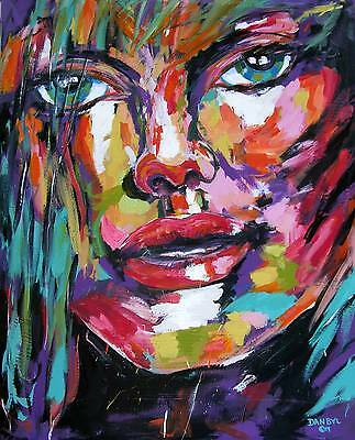 New Original Art PAINTING DAN BYL Big Eyes Collector Portrait Fantasy 5ft x 4ft