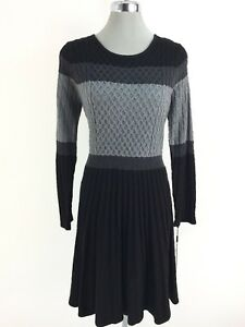 79ff84c8256 Details about Calvin Klein NWT Black Gray Charcoal Color block cable knit  Sweater Dress M
