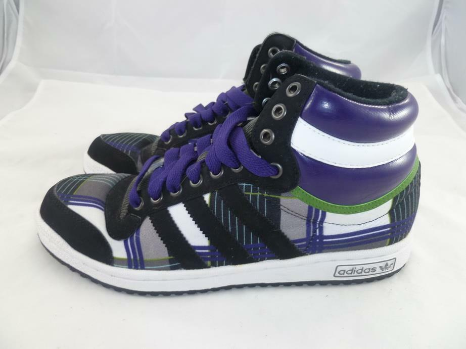 Adidas Originals EVN 004001 8,5 usa plaid blanco purpura / negro / blanco plaid Hi Top Zapatillas d0548a