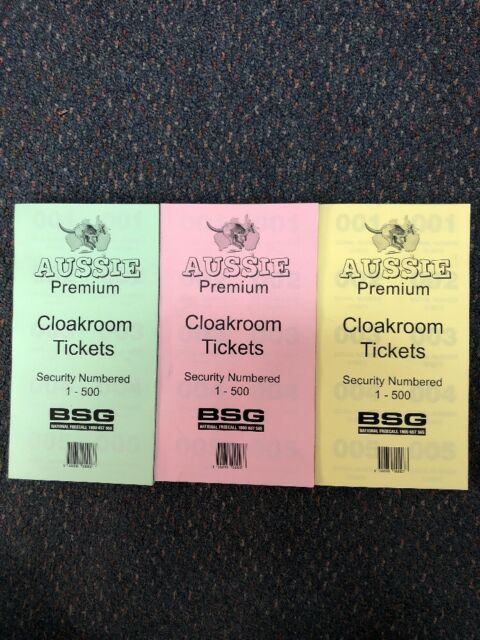 3 x Aussie Premium Cloak Room Cloakroom Pads NO. Tickets 1-500