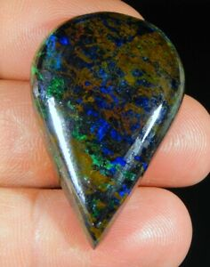 81-Ct-Natural-Deep-Blue-Ocean-Designer-Azurite-Pear-Cabochon-USA-Gemstone-B75