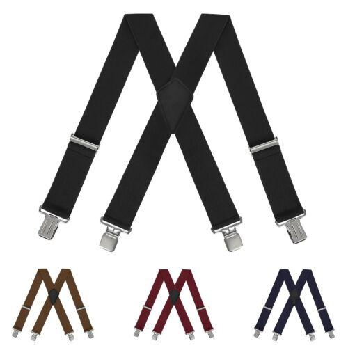 "Mens Heavy Duty Suspenders Adjustable Clip On Work Braces 2/"" Wide Solid Color"
