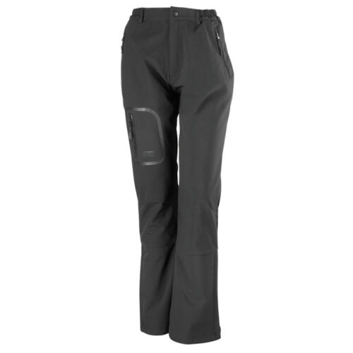 Result Ladies Womens BLACK Breathable Windproof Soft Shell Trousers