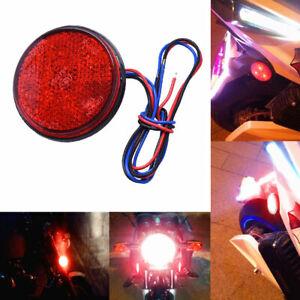2x-Red-Motorcycle-Motorbike-Round-Reflector-LED-Rear-Tail-Brake-Stop-Light-Lamp