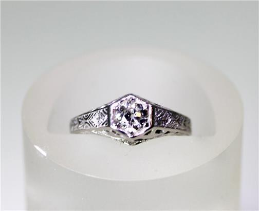 Estate 1870's 14K White gold Filigree Ring .59ct European Diamond Sz 6.5 - 8227