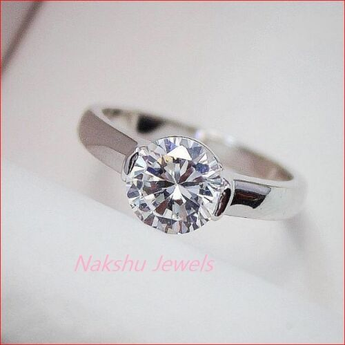 1.10CT White Round Cut Moissanite Solitaire Engagement Ring 925 Sterling Silver