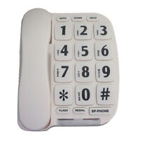 Extra Large Button Phone With Bright Flashing Ringer Light Low Vision, Voice Amp