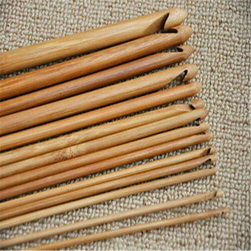 12 PCS//Set Bamboo Wooden Handle Crochet Hooks Knit Handcraft Needle 3mm-10mm