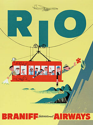 1930/'s Brazil Tourist Board Rio de Janeiro Poster  A3 Reprint