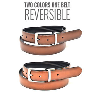 """NYBC Reversible Mens Belt Brown and Black Made in USA Rotated 1.5/"""" Wide 7 Holes"""