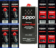 12 Ounce Fuel Fluid & 4 Packs Flint (24 Flint) & 4 Wicks for Zippo Lighters