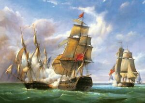 NEW! Castorland Combat between the French Frigate 3000 piece jigsaw puzzle