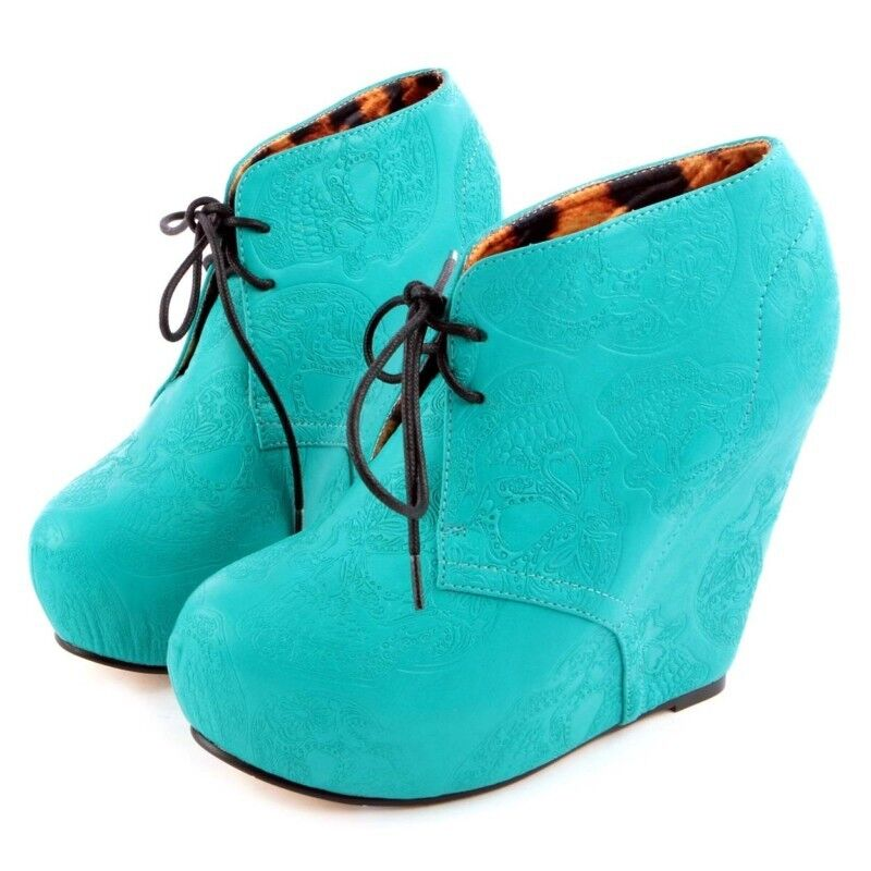 Iron Fist New Tigre Wedge & Bunny Teal Green Wedge Tigre Tigre Pumps Bootie Platform Shoes cd9fb1