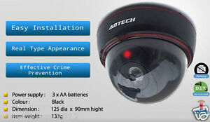 Bullet Dome Dummy Fake High Speed Surveillance Security Camera w/ Flash Light