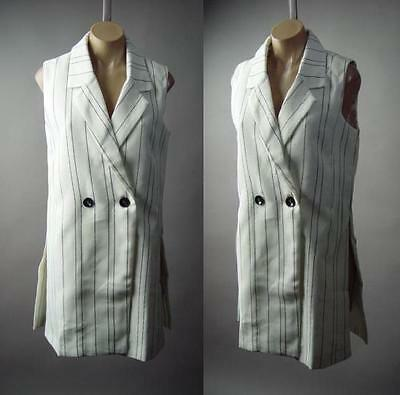 Women White Black Pin Stripe Work Office Long Jacket Blazer 180 mv Vest S M L