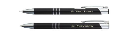 Metall Schreibset mit Gravur schwarz Farbe Druckbleistift Kugelschreiber
