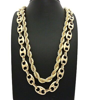 """MEN/'S HIP HOP STYLE RAPPER/'S GOLD PLATED MARINA CHAIN 12mm 24/"""" 30/"""" NECKLACE"""