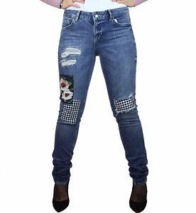 factory price 4b7f8 dc39e Dettagli su Jeans donna Liu Jo Bottom up magnetic regular pantaloni con  strappi e toppe