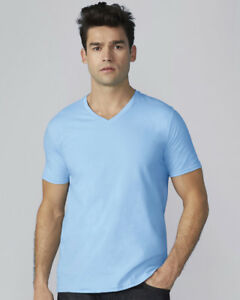 Da-Uomo-Premium-Scollo-A-V-T-Shirt-Gildan-100-Cotone-Tinta-Unita-T-Shirt-Small-2XL