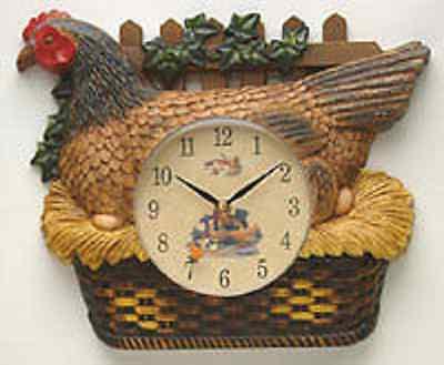 "New Kitchen CHICKEN / ROOSTER ""Farm Fresh"" Wall Clock HEN SAT ON EGGS NEW W5793"