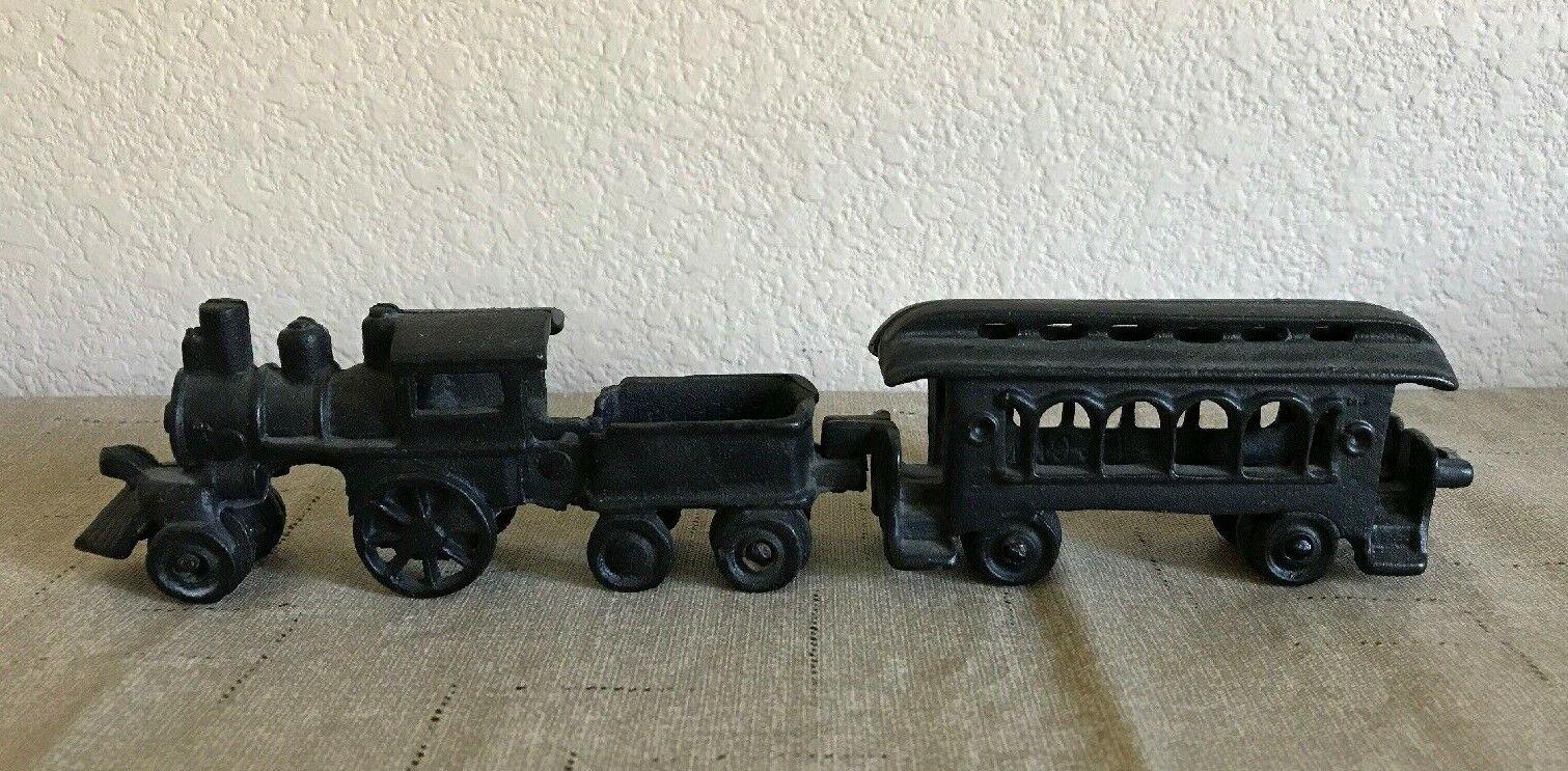 Antique Cast Iron Toy Train Set - Locomotive Tender & Car