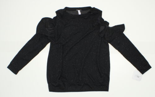 nWT Isabel Maternity Cold Shoulder Ruffle Sweatshirt Black Black Medium 07138