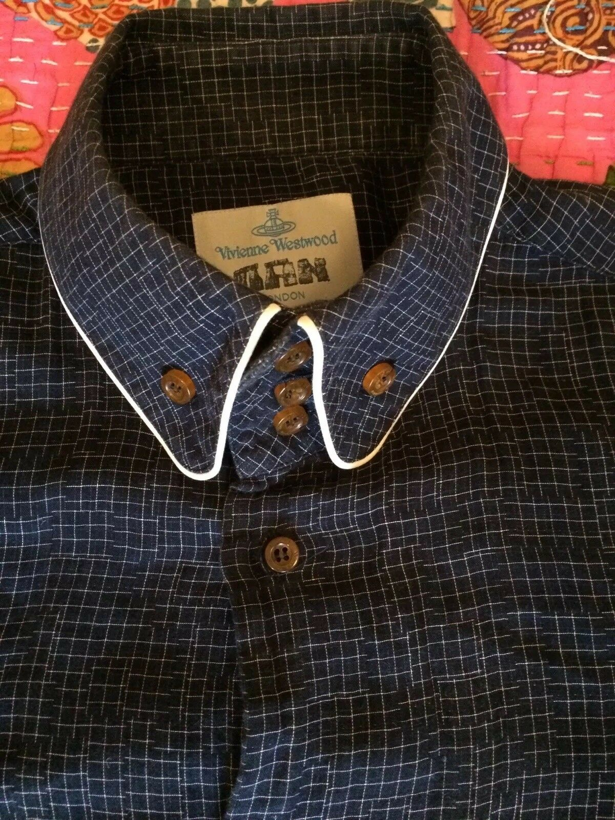 Vivienne Westwood Shirt in Navy with white square pattern - Size 3 (III)