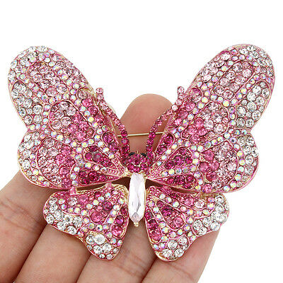 "3.3"" High Quality Butterfly Brooch Pin Austrian Crystal Pink Insect Gold Tone"