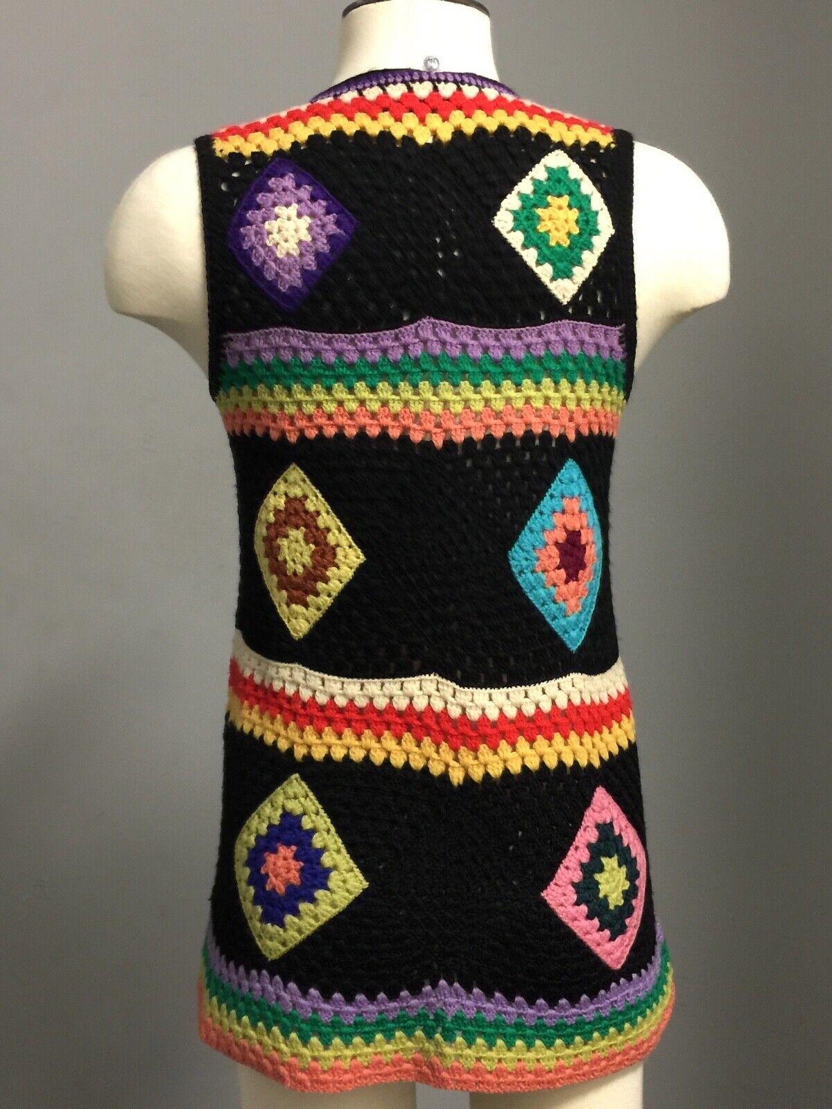 Vintage 70s Wool Handknit Crochet Black Multicolo… - image 3