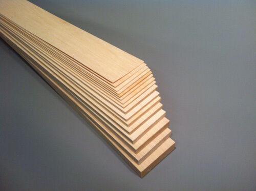 Balsa Sheet 457 Mm Long x 75 mm large Select épaisseur Pk de 2 4 ou 6