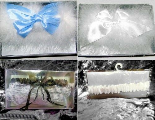 New In Presentation Box Wedding Bridal White Marabou & Satin Bow Garters