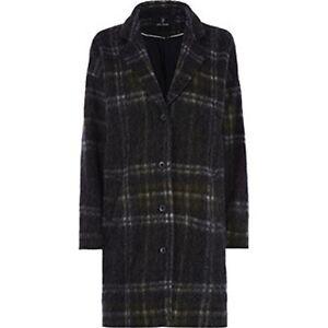 Julie Brandt Coco Grey Green Wool Blend Tartan Plaid Long Coat Nwt