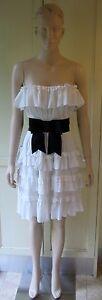 BETTINA-LIANO-White-Frill-Dress-Strapless-A-Line-Black-Bow-Belt-Evening-Formal