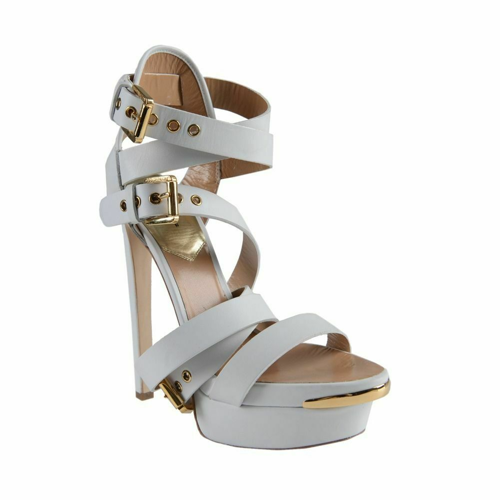 Dsquared2 White Leather Strappy Biker Sandal Heel shoes Size 6 7 7.5 8 8.5 9 9.5