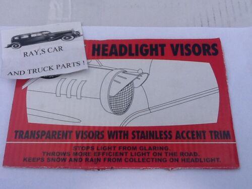 NEW PAIR OF AMBER VINTAGE STYLE HEAD LIGHT VISORS !