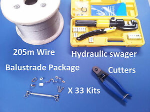 33-X-BALUSTRADE-KITS-316-STAINLESS-STEEL-205m-WIRE-ROPE-HYDRAULIC-SWAGER-TOOL