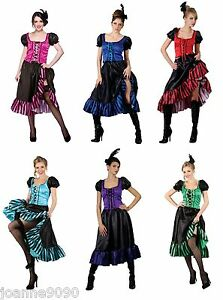 LADIES-SEXY-SALOON-GIRL-WILD-WEST-BURLESQUE-COWGIRL-CAN-CAN-FANCY-DRESS-COSTUME