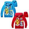 Cute Kids Boys Girls Casual Hoodies Long Sleeve Pokemon Go Cartoon Clothes 3-8 Y
