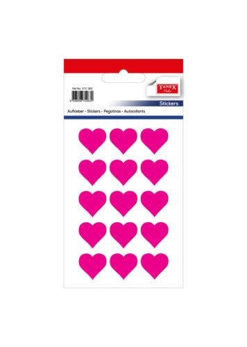 60 Stück TANEX Kids STC-302 Herz Aufkleber neon pink