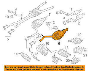For 2000-2004 Audi A6 Quattro Muffler Center API 98473YS 2001 2002 2003 4.2L V8