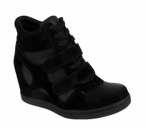 Girls Wedge Trainers Kids Lace Up Ankle Boots Sports High Top Shoes Size