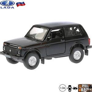 Diecast Cars 1:36 Scale Model Lada 4x4 Niva VAZ 2121 Black Off-Road Vehicle