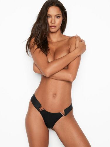 NEW Victoria Secret Luxe Lingerie V Hardware Brazilian Panty VS Black Panty