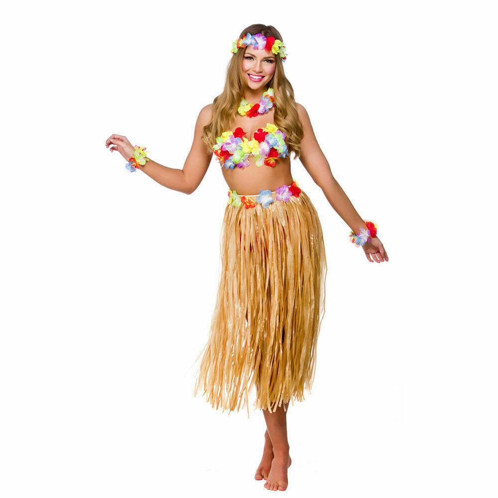 Ladies Girls 80 Cm Hula Grass Skirt Coconut Bra Hawaiian Summer Beach Party Set