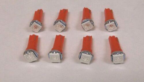 8 BBT Brand Marine Grade Red LED T-5 Wedge Base Instrument Panel Light Bulbs