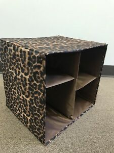 7d584543b6ae Details about Joy Mangano Collapsible Chic Organize-It-All Storage Cube  Leopard