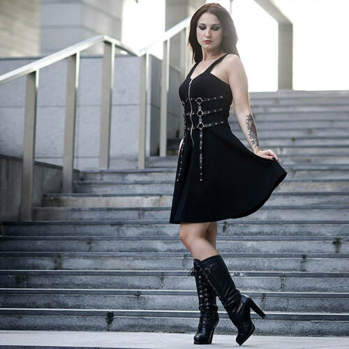 Beautiful Women Zipper Pleated Strap Dress Gothic Street Punk Wind Cosplay Dress